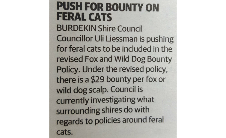 Push for Bounty on Feral Cats – Advocate 19.10.2018