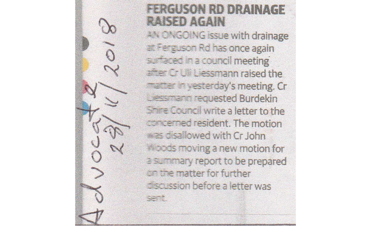 Ferguson Road Drainage Raised Again – Advocate 28.11.2018