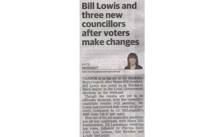 Bill Lowis and three new councillors after voters make changes