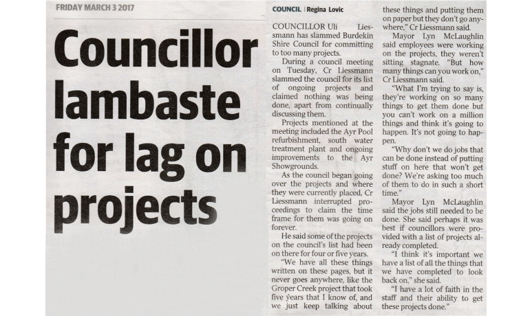 Councillor lambaste for lag on projects – Advocate 03.03.2017