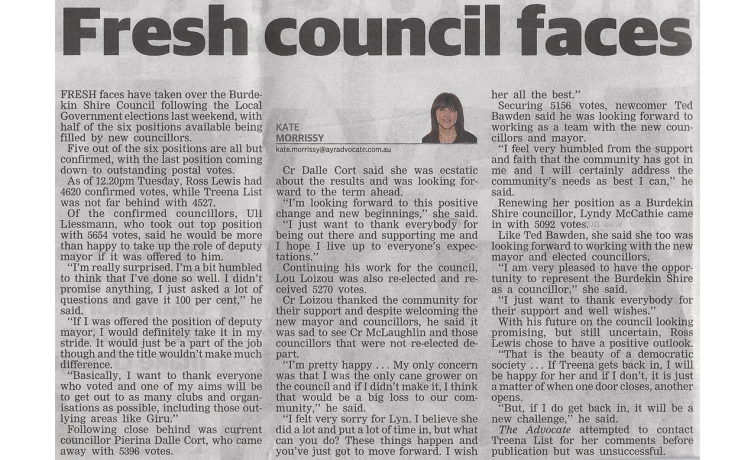 Fresh Council Faces in 2012 Burdekn Shire Council Elections