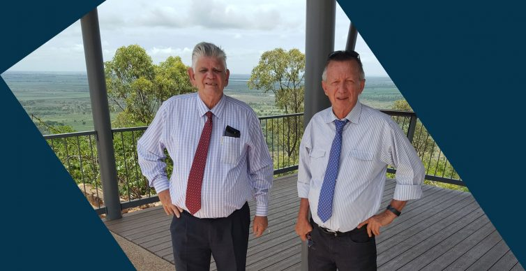 Councillor Ted Bawden and Councillor Uli Liessmann on inspection at Mount Inkerman Scenic Lookout
