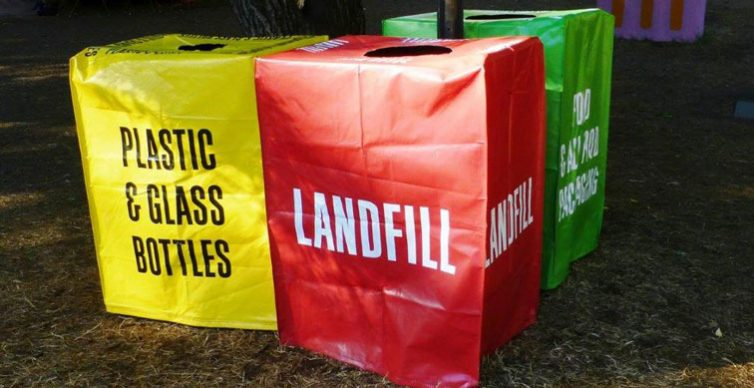 Bright temporary bins for festivals