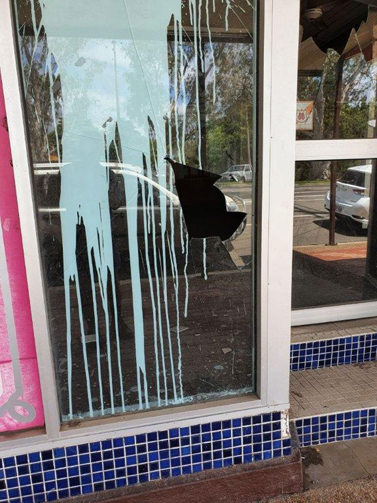 Vandalised Shop Front in Home Hill 1