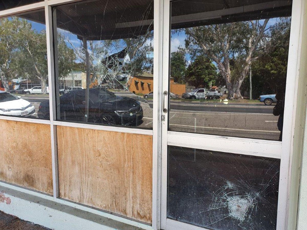 Vandalised Shop Front in Home Hill 2