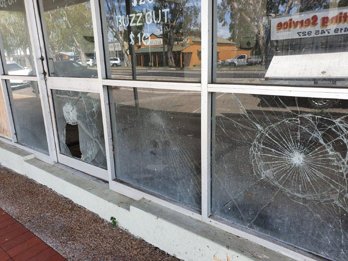 Vandalised Shop Front in Home Hill 3